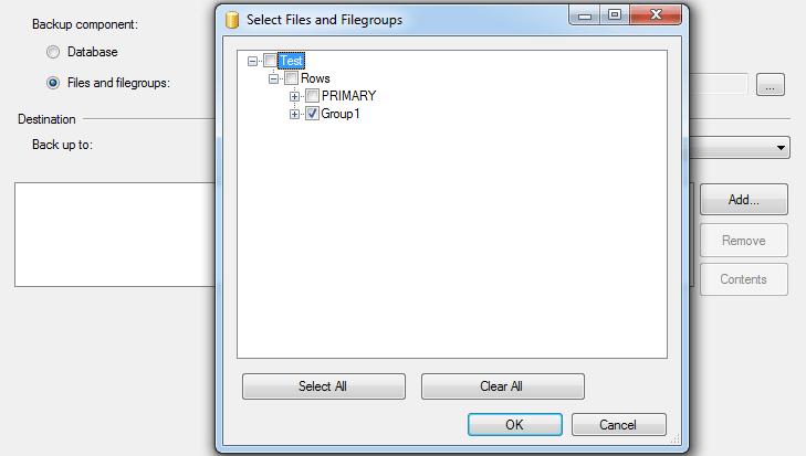 Database filegroup backup