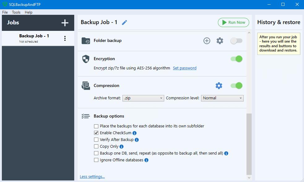 CheckSum option SQLBackupAndFTP