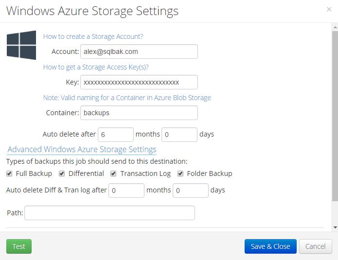 SQL Server backup to Azure with SqlBak