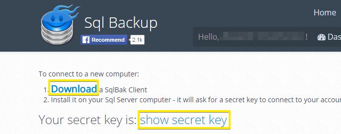 """Manage multiple SQL backups """"Download SqlBak Client"""""""