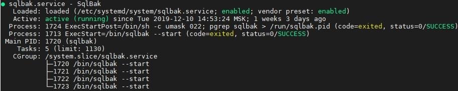 sqlbak service status